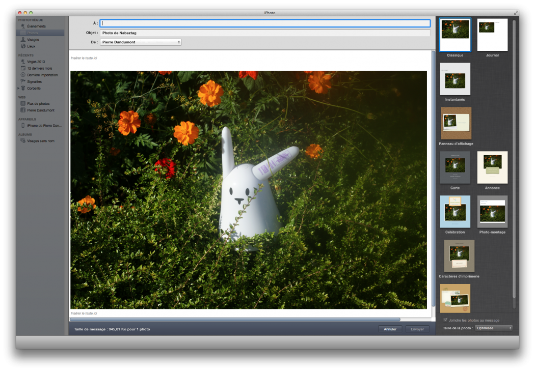 L'interface d'iPhoto
