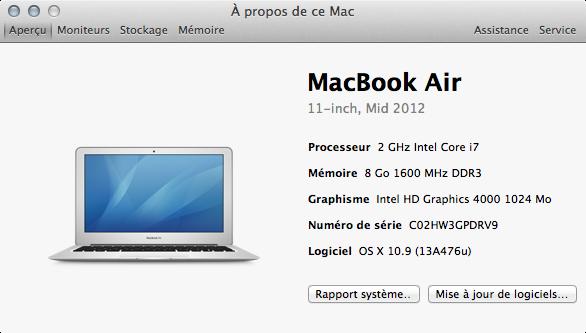 1 024 Mo de mémoire vidéo, contre 512 Mo sous OS X Mountain Lion