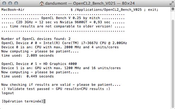 support d'OpenCL pour la carte Intel HD 4000