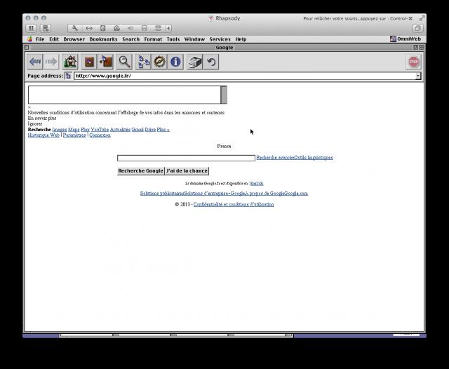 Google dans OmniWeb, un navigateur pour Rhapsody