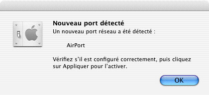 Une carte AirPort détectée