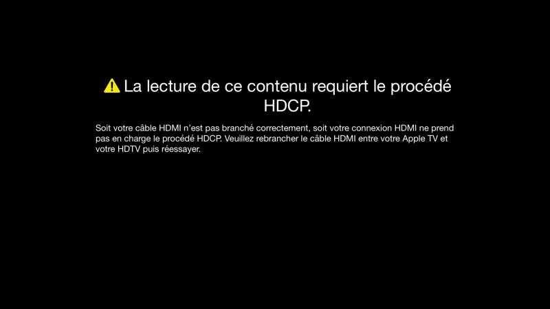 Pas de vidéo en HD sans HDCP