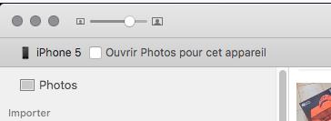 Dans Photos (sélectionner l'appareil, l'option est en haut à gauche)