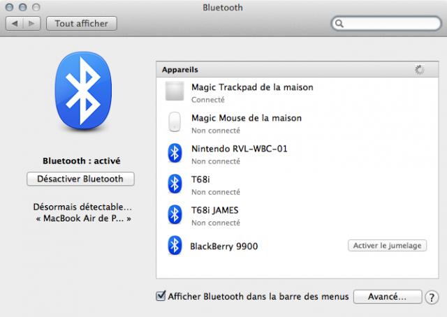 Nouvelles préférences Bluetooth
