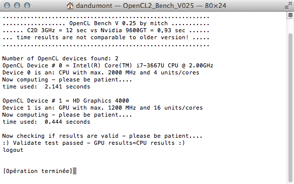 OpenCl sur MBA 2012 Core i7
