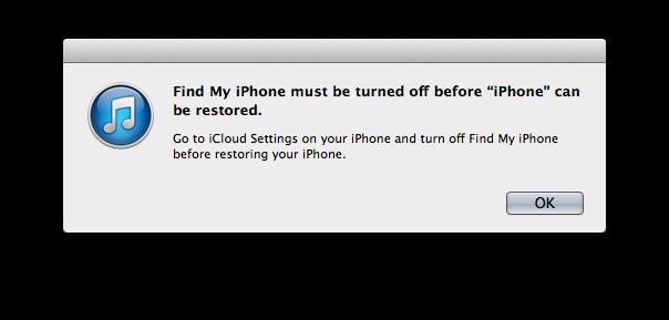 Désactivez Find My iPhone