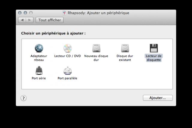 Ajouter un lecteur de disquettes