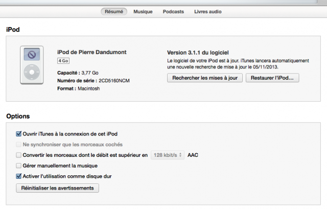 iPod sous Mavericks