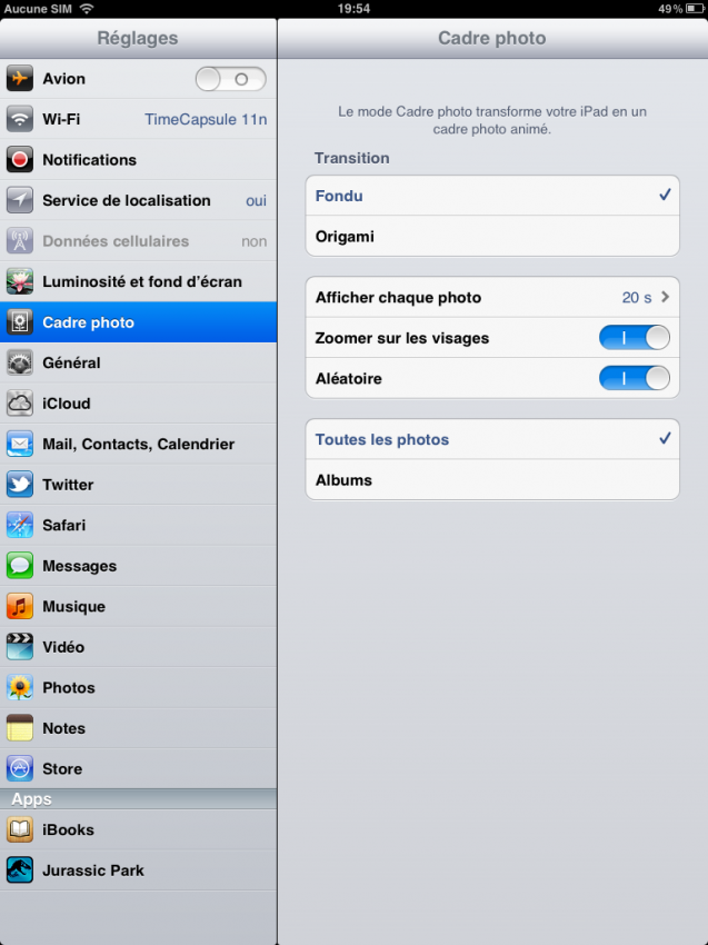 Les options (iOS 5)