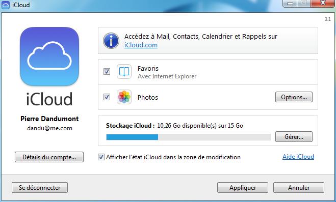 Panneau iCloud