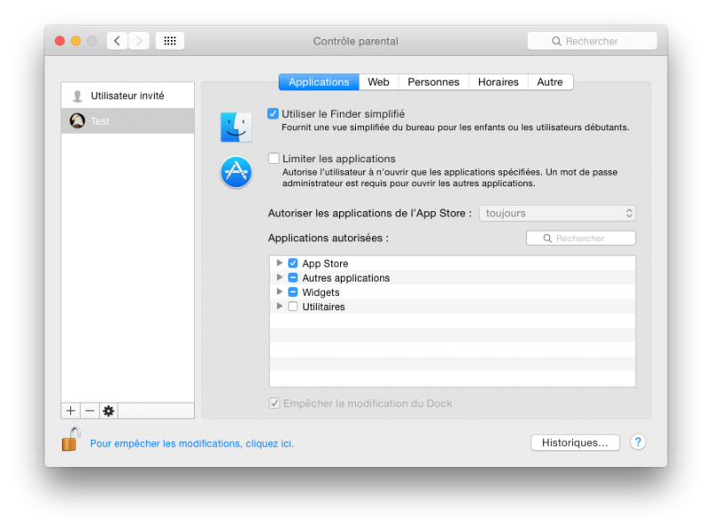 Finder simplifié