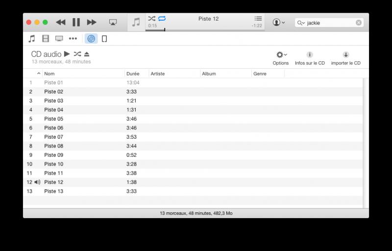 iTunes n'aime pas la piste 1