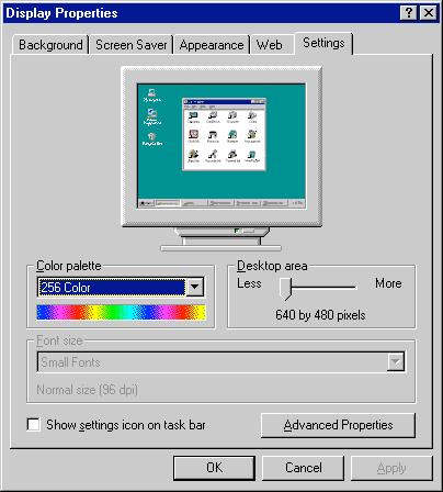 640 x 480 en 256 couleurs