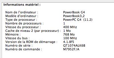 G4 400 MHz, 1 Mo de cache, bus 100 MHz