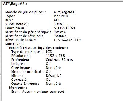 Rage 128 8 Mo, écran 3:2 1152 x 768
