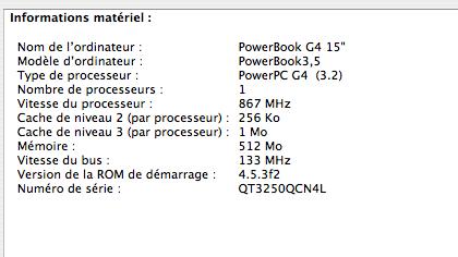 G4 867 MHz, 256 ko + 1 Mo de cache, bus 133 MHz