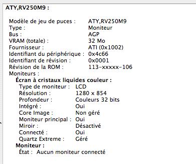 Radeon 9000 32 Mo, écran 3:2 1280 x 854