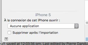 Dans Transfert d'images (sélectionner l'appareil, l'option est en bas à gauche)