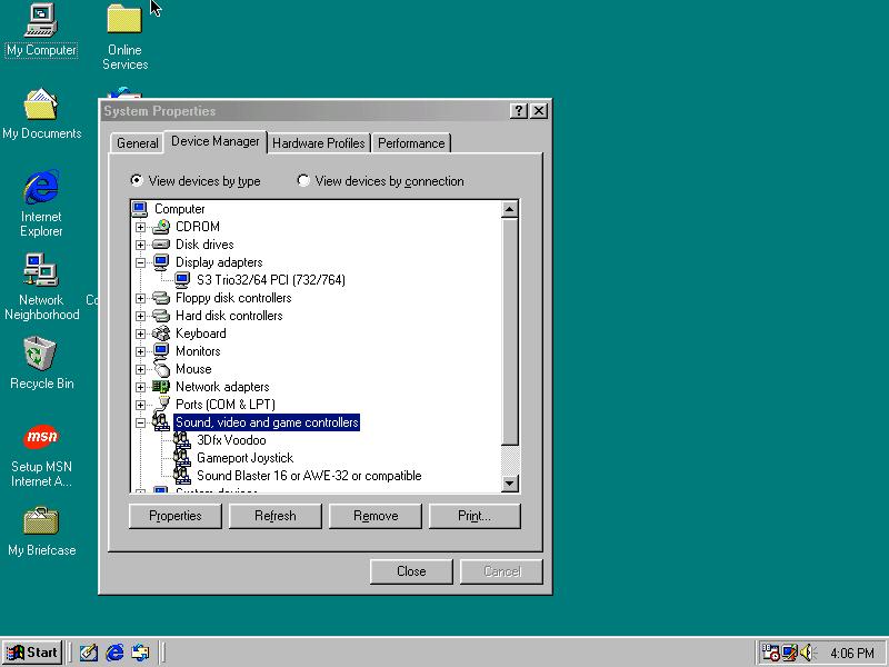 Windows reconnaît la Voodoo