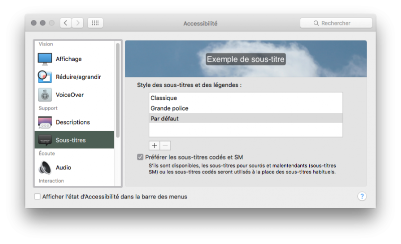 OS X gère les sous-titres