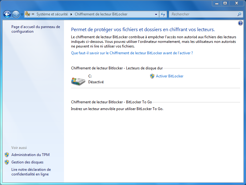 Windows ne trouve pas la puce TPM