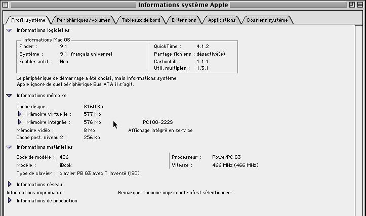 G3 à 466 MHz, 576 Mo de RAM